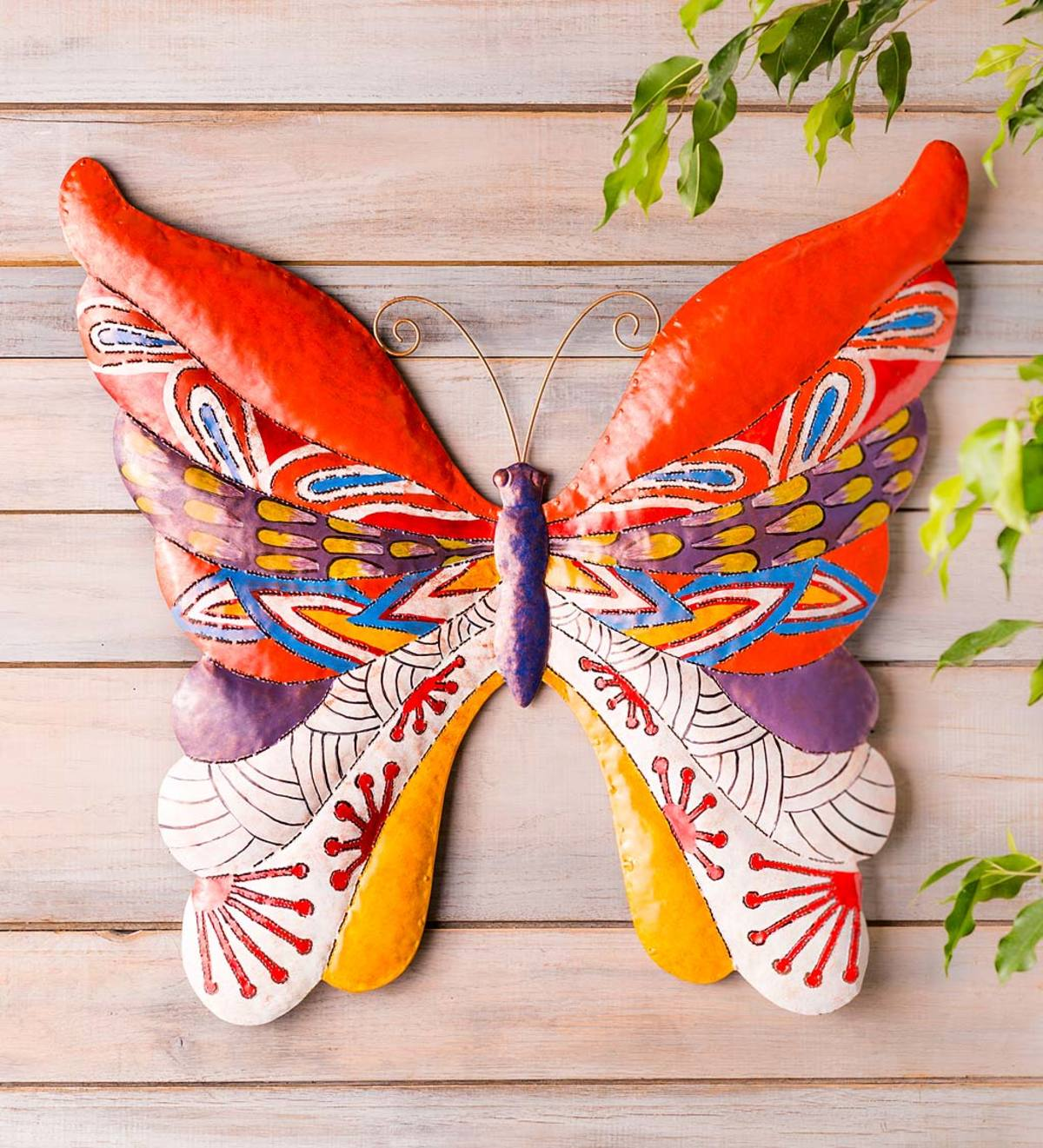 Handcrafted Colorful Metal Butterfly Wall Art Wind And Weather