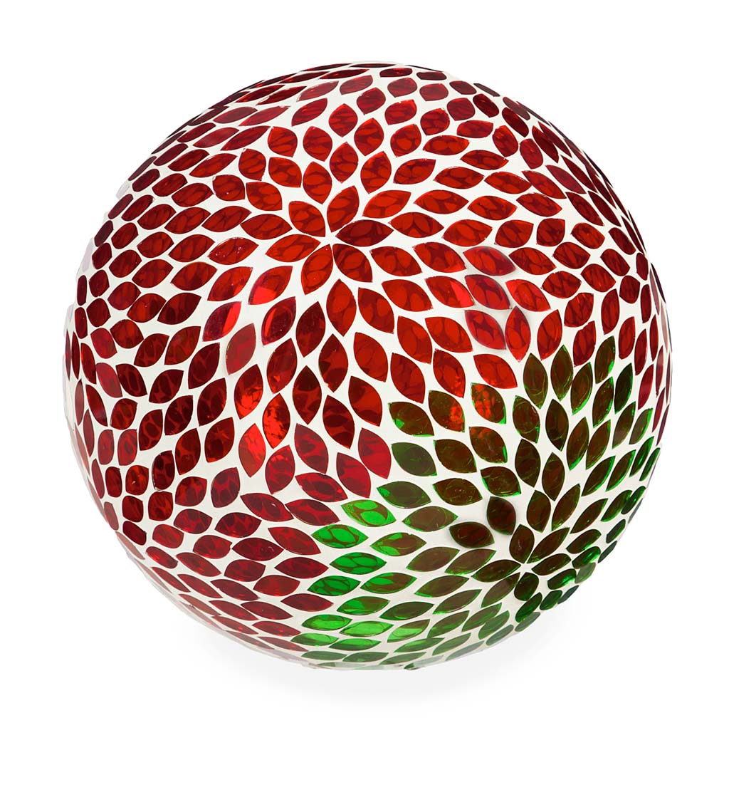 Red and Green Flower Mosaic Glass Gazing Ball