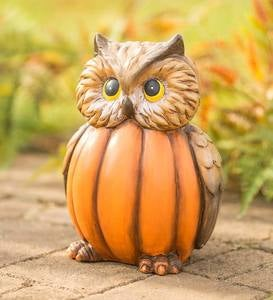 Owl in a Pumpkin Sculpture