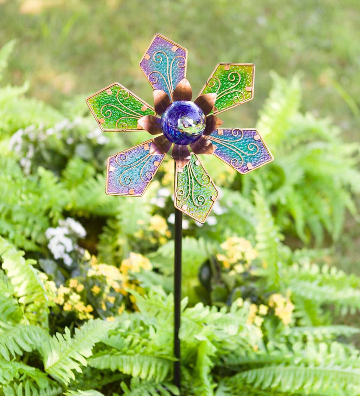 Metal and Glass Decorative Garden Stake with Glow-in-the-Dark Orb