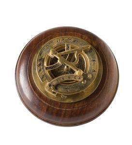 Brass Sundial Compass with Wood Base