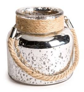 Mercury Glass Jar with LED Lights - Silver