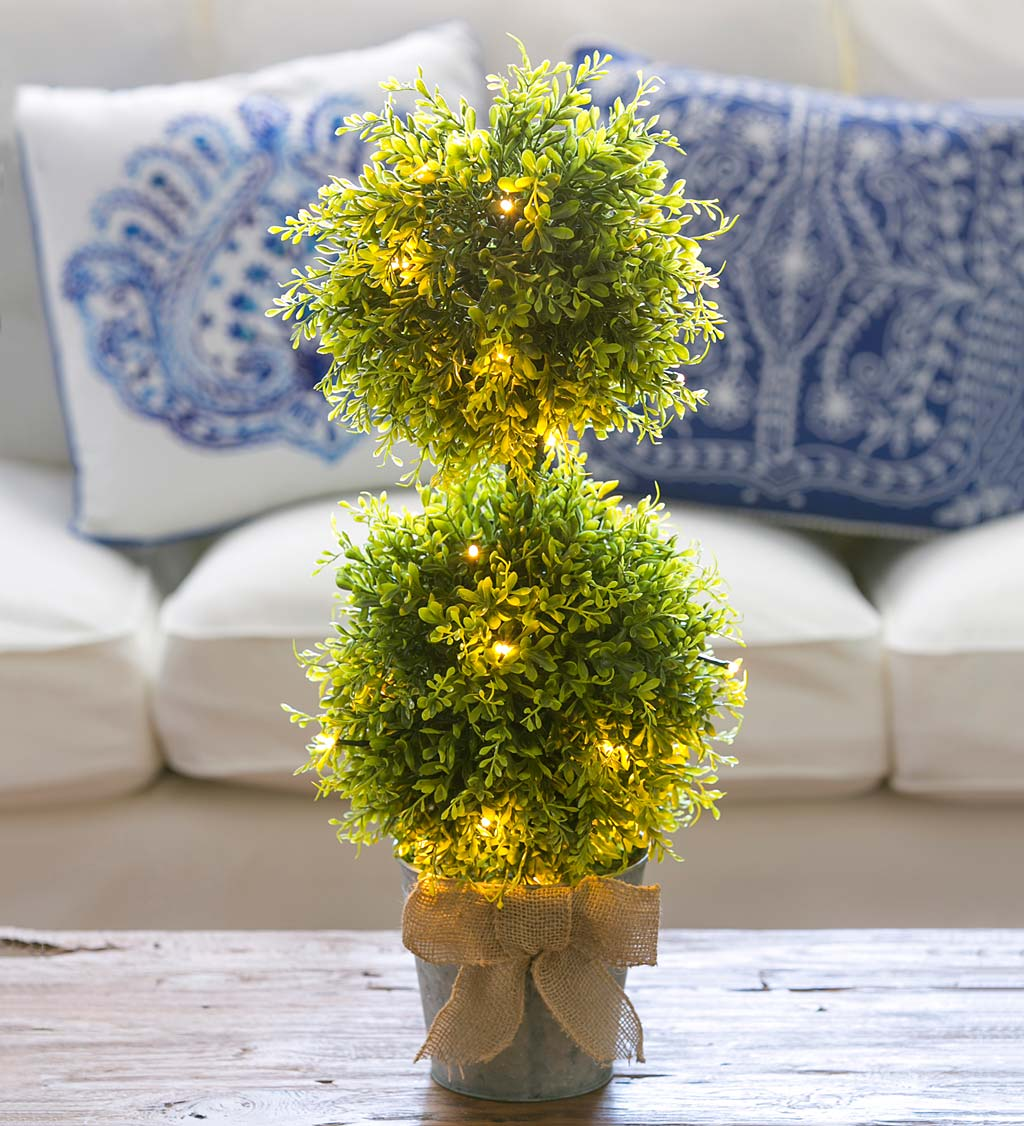 Lighted Faux Boxwood Topiary in Galvanized Pot