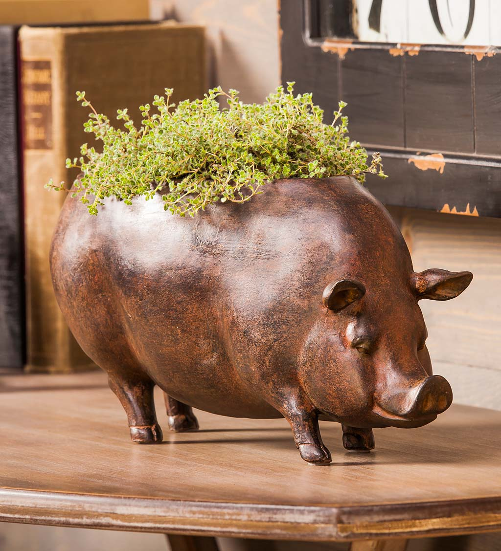 Faux Terra Cotta Pig Planter