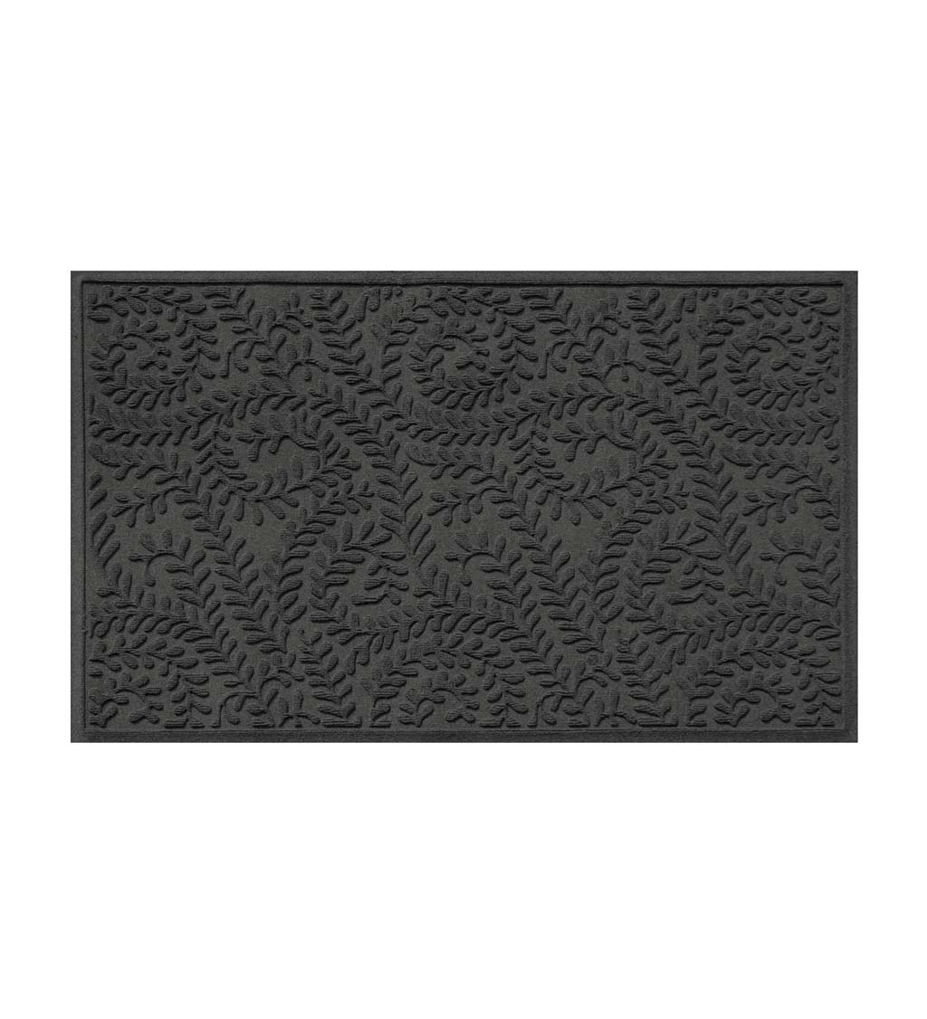 "Waterhog Indoor/Outdoor Leaves Doormat, 22"" x 60"" - Charcoal"