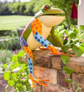 Large Colorful Handcrafted Metal Sitting Frog Garden Sculpture