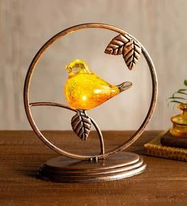 Lighted Glass Bird Sculpture with Metal Frame and Base