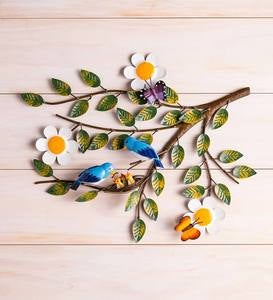 Handcrafted Metal Bluebirds and Babies on a Branch Wall Art