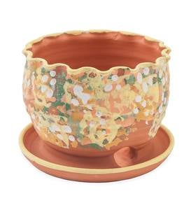Handcrafted Scalloped Terra Cotta Flower Pot with Basin