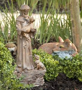 Hand-Finished Woodlike St. Francis Garden Statue