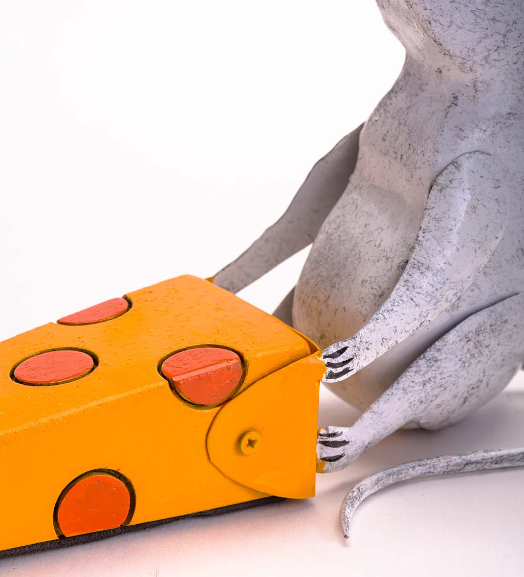 Handcrafted Metal Mouse with Wedge of Cheese Door Stopper