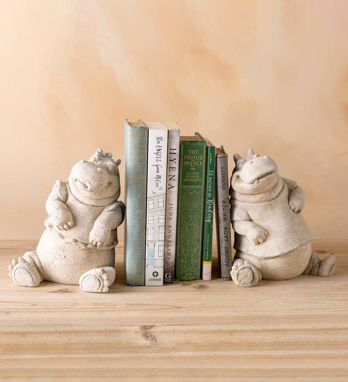 Volcanic Ash and Stone Powder Hippo Bookends, Set of 2