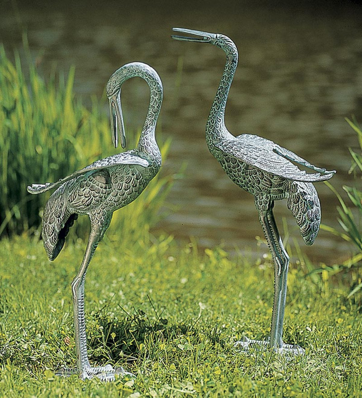 Preening Crane Metal Yard Sculptures, Set of 2