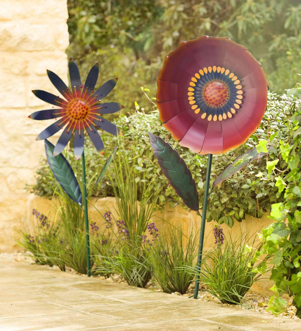 Large Metal Flower Garden Stake