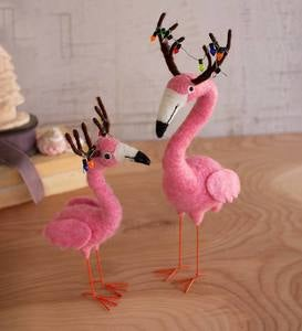 Handcrafted Felt Flamingo Reindeer, Set of 2