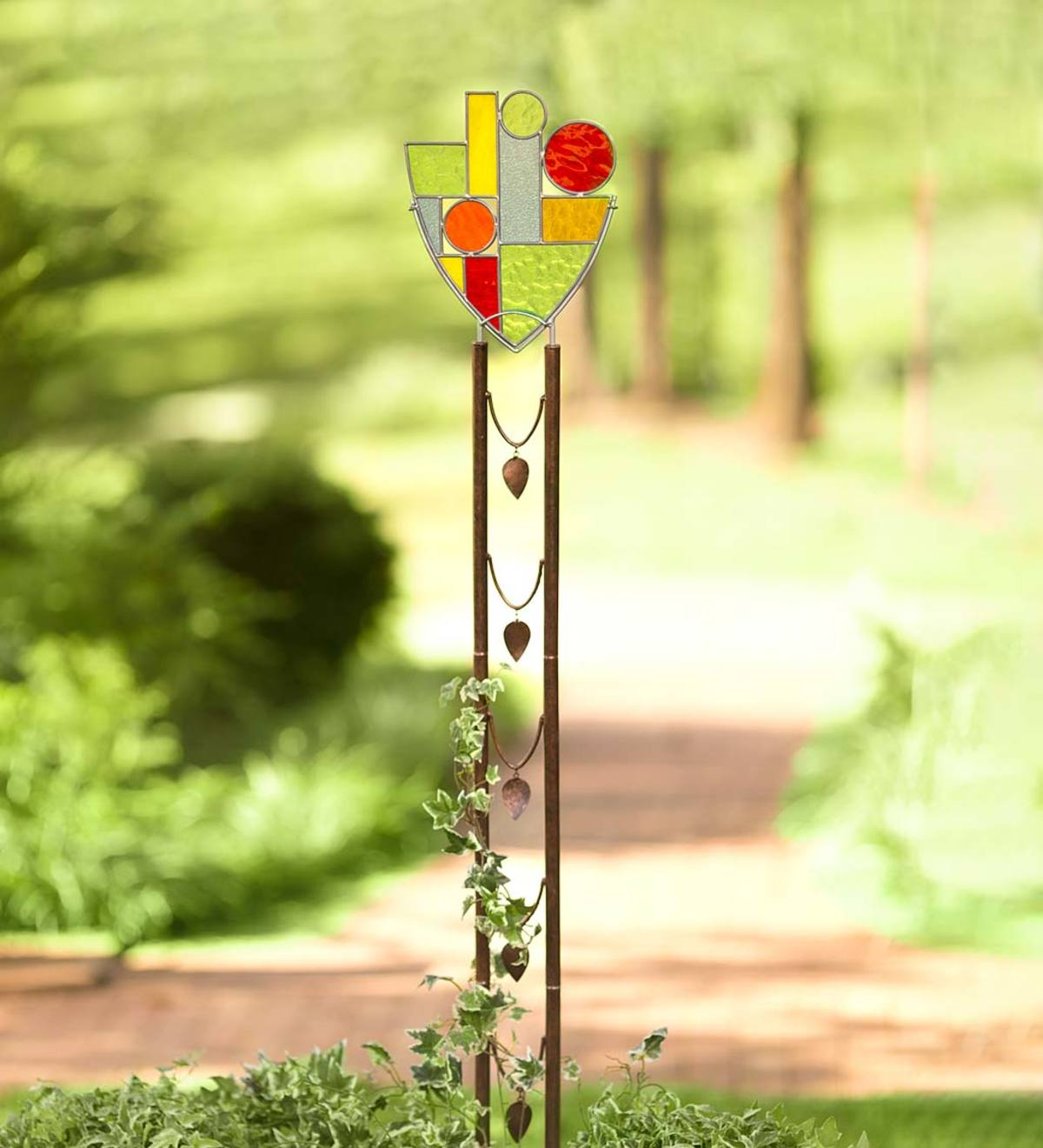 Stained Glass and Metal Shield Garden Stake