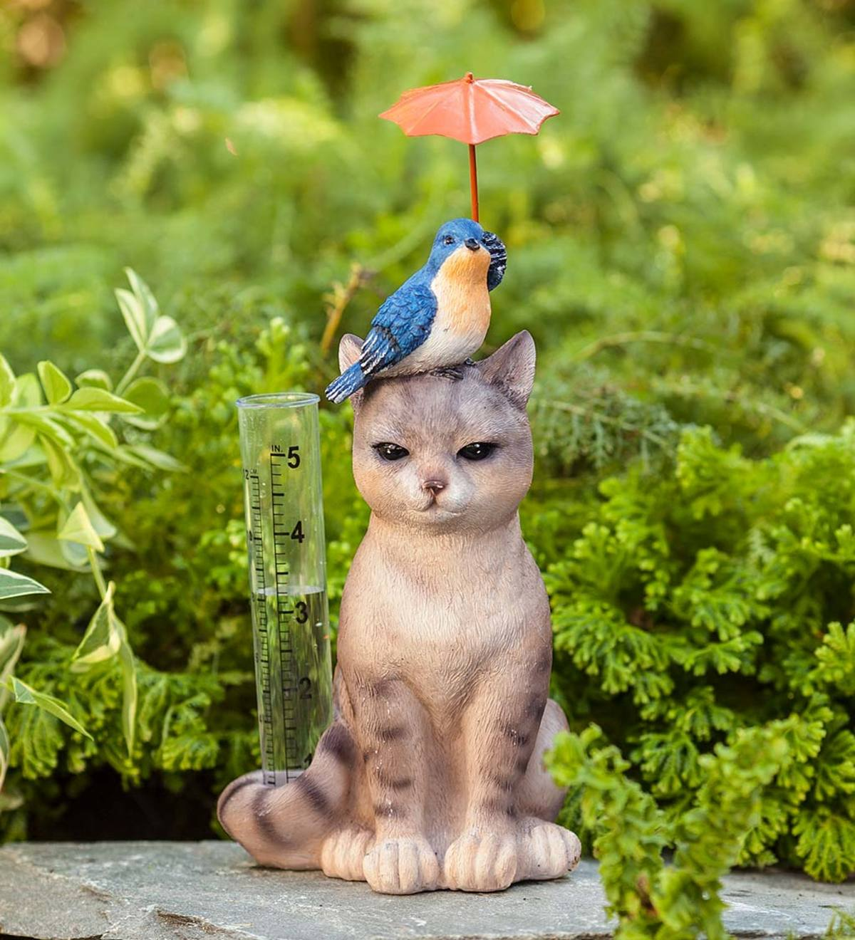 Cat and Bird Rain Gauge