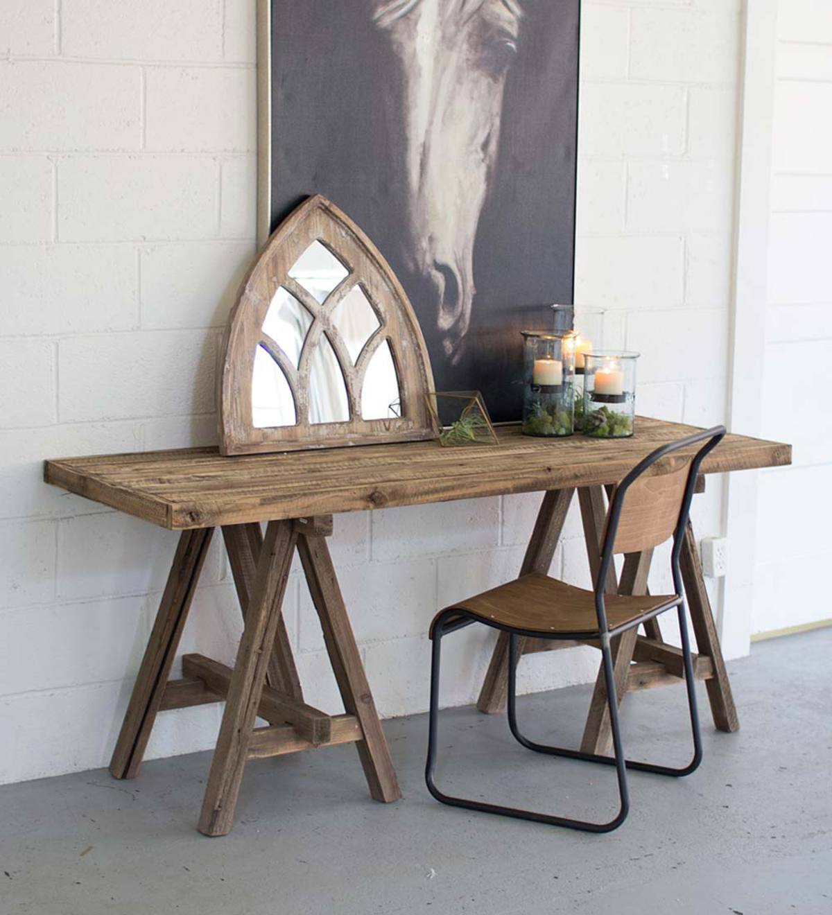 Wooden Console Table with Saw Horse Base