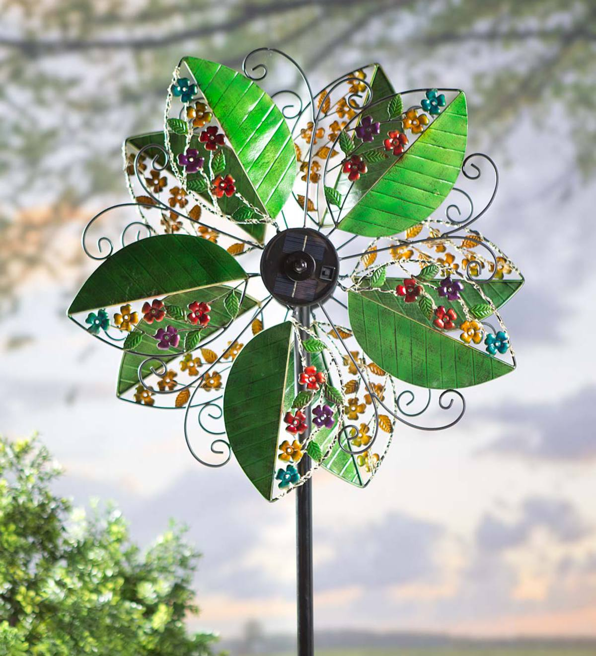 Solar Leaves Wind Spinner with Flowers and Vines