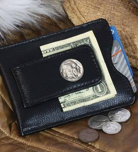 Leather Money Clip Wallet with Buffalo Nickel