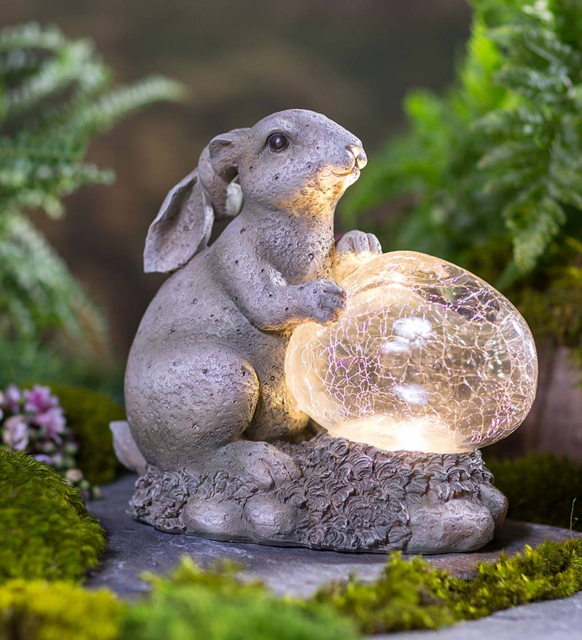 Bunny Sculpture with Solar Lighted Crackle-Glass Orb