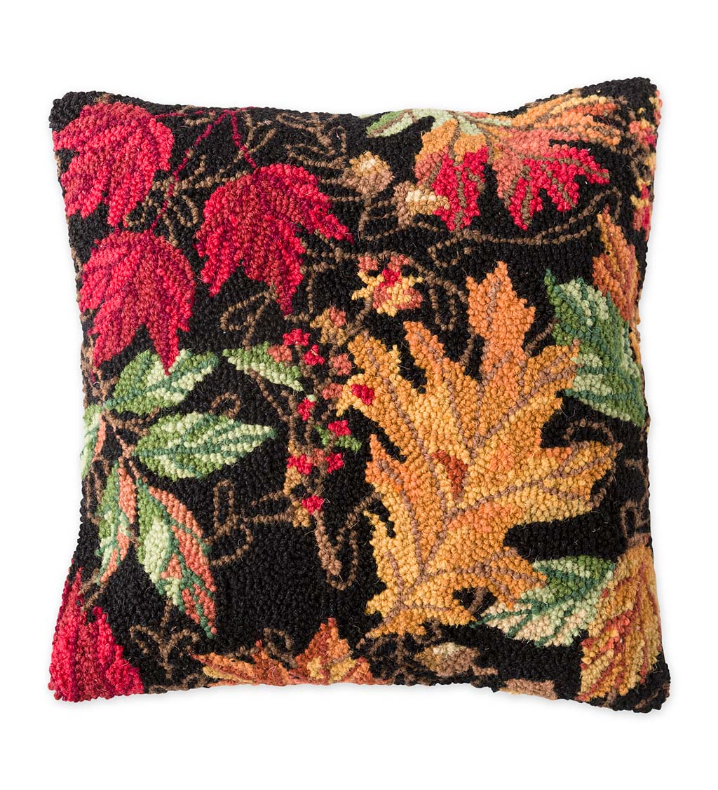 Fall Leaves Hand Hooked Wool Throw Pillow Wind And Weather