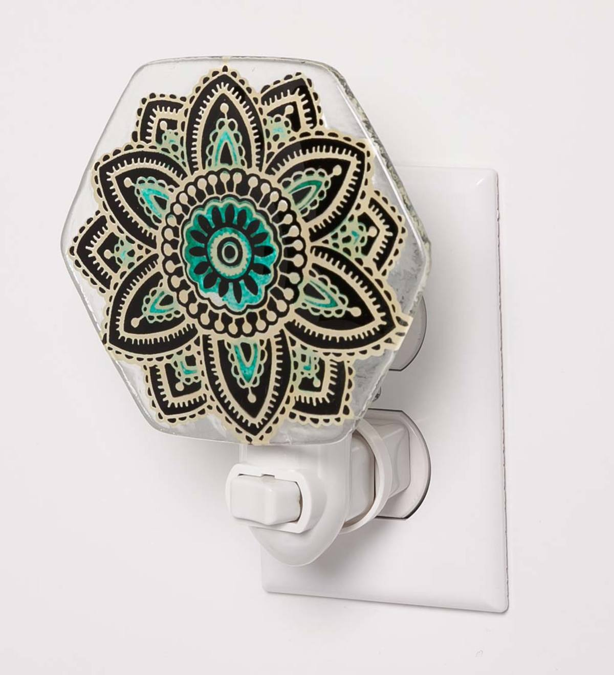 Hand-Painted Glass Nightlight with Mandala Design
