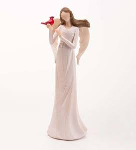 Angel Holding a Crimson Cardinal Indoor/Outdoor Statue