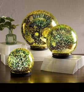 3D Lighted Mercury Glass Balls, Set of 3