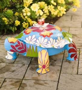 Tropical-Pattern Painted Metal Turtle Side Table