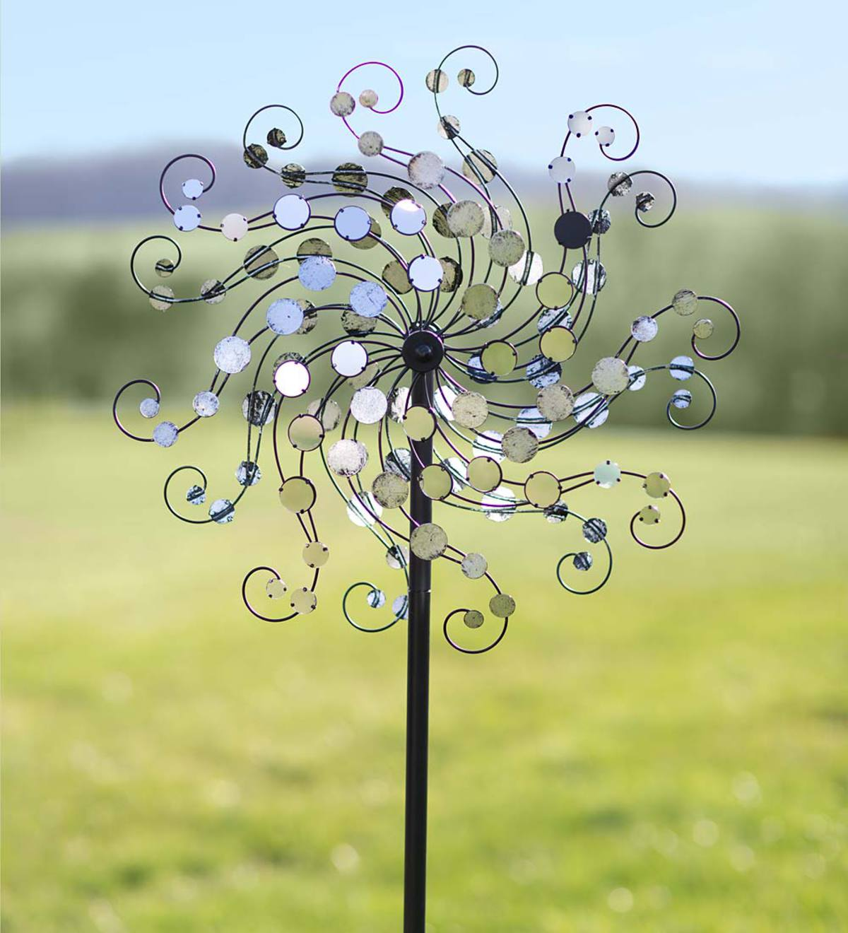 Dual-Rotor Spiral Metal Wind Spinner with Shiny Mirror Discs