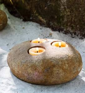 Natural Stone Triple Tealight Holder