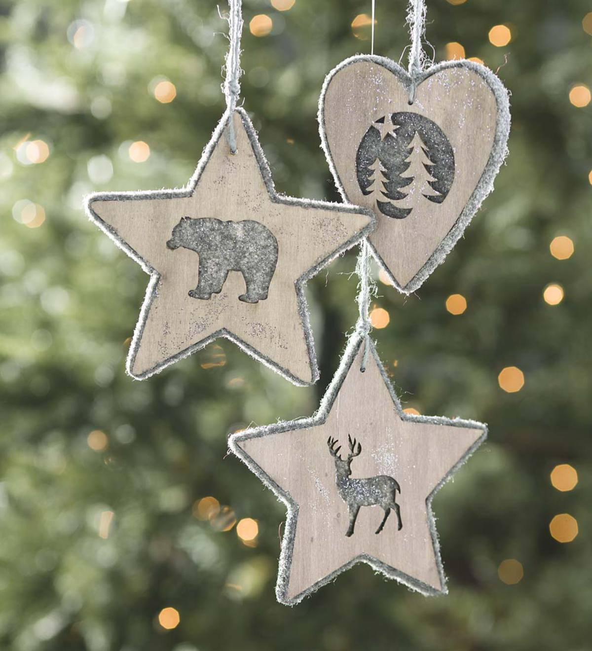 Poplar Wood & Wool Insert Ornaments, Set of 3 - Gray