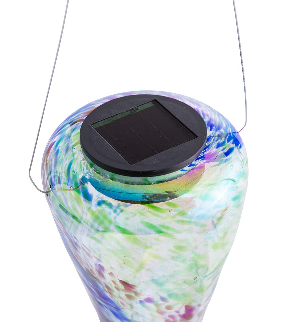Handcrafted Blown-Glass Colorful Solar Hanging Lights - Iridescent
