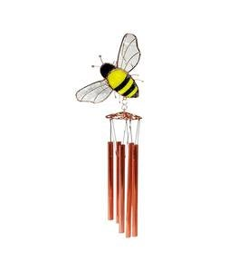 Handcrafted Metal and Stained Glass Bee Wind Chime