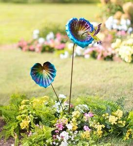 Metal Flower Garden Stakes with Hummingbird