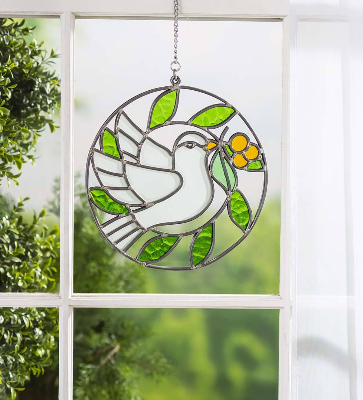 Handcrafted Stained Glass Dove Window Hanger