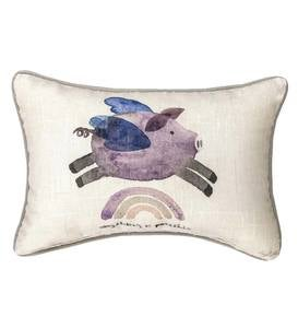 Anything is Possible Flying Pig Cotton Pillow