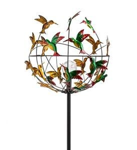 Metal Hummingbird Wind Spinner with Color-Changing Solar Orb