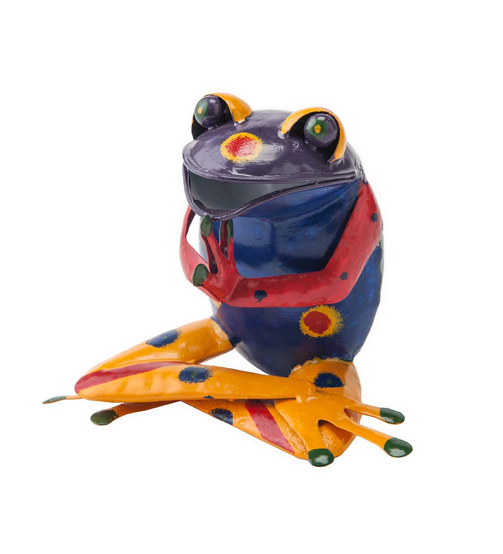 Handcrafted Colorful Metal Yoga Frog Sculpture - Purple