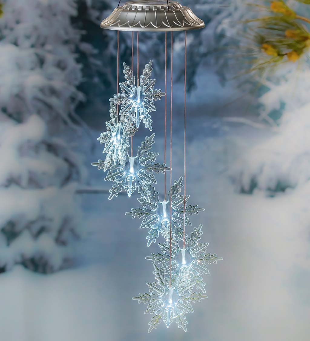 Clear Lighted Solar Snowflakes Mobile - Snowflake