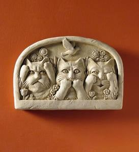 Cast Stone Hear/Speak/See Kitten Wall Plaque