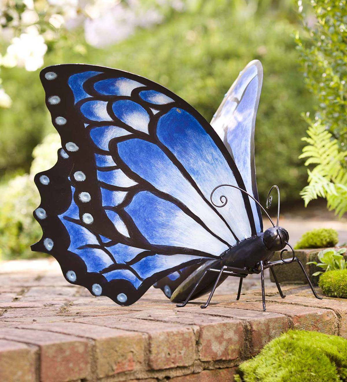 Hand-Painted Blue Metal Monarch Butterfly Outdoor Sculpture