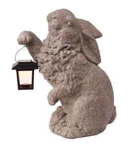 Rabbit with Solar Lantern Garden Sculpture