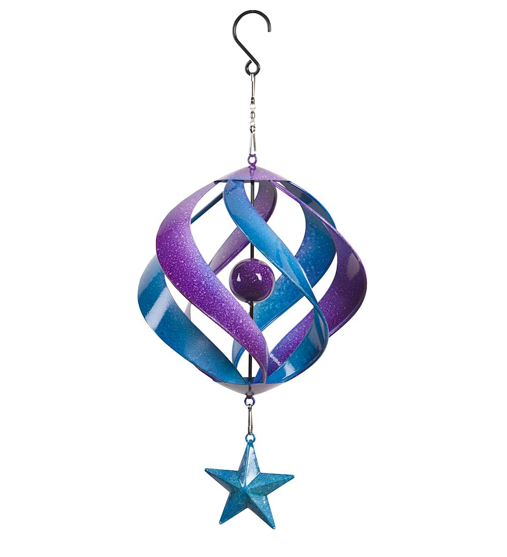 Hanging Two-Tone Metal Spiral Wind Spinner with Star