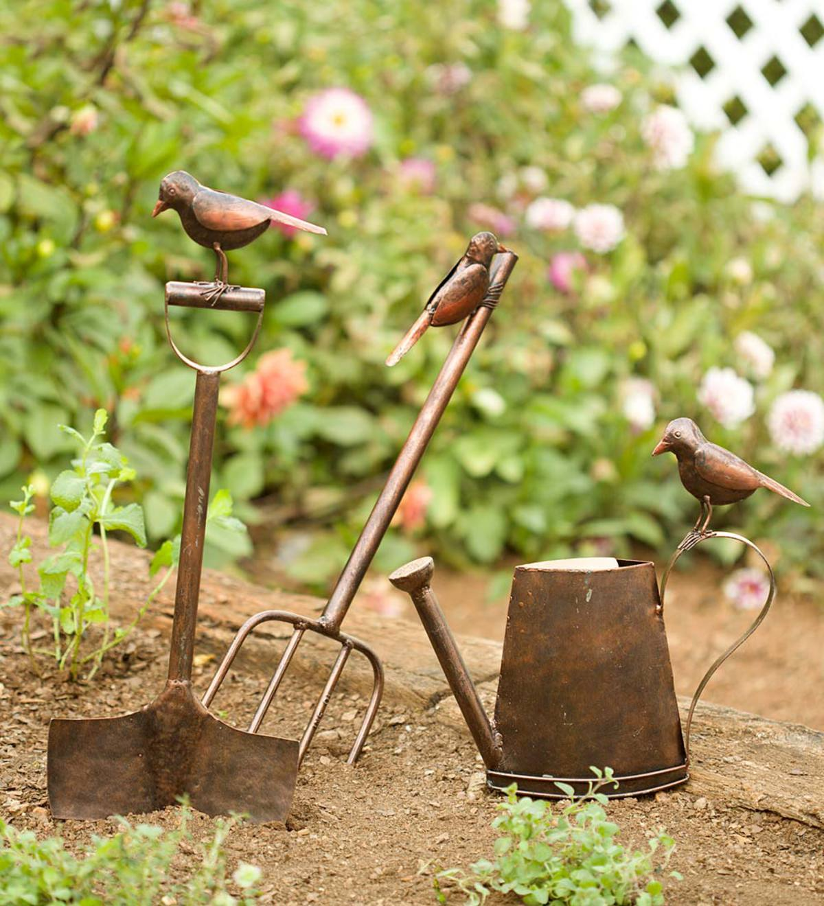 Metal Garden Tool Stake with Bird | Garden Stakes | Garden Décor by ...