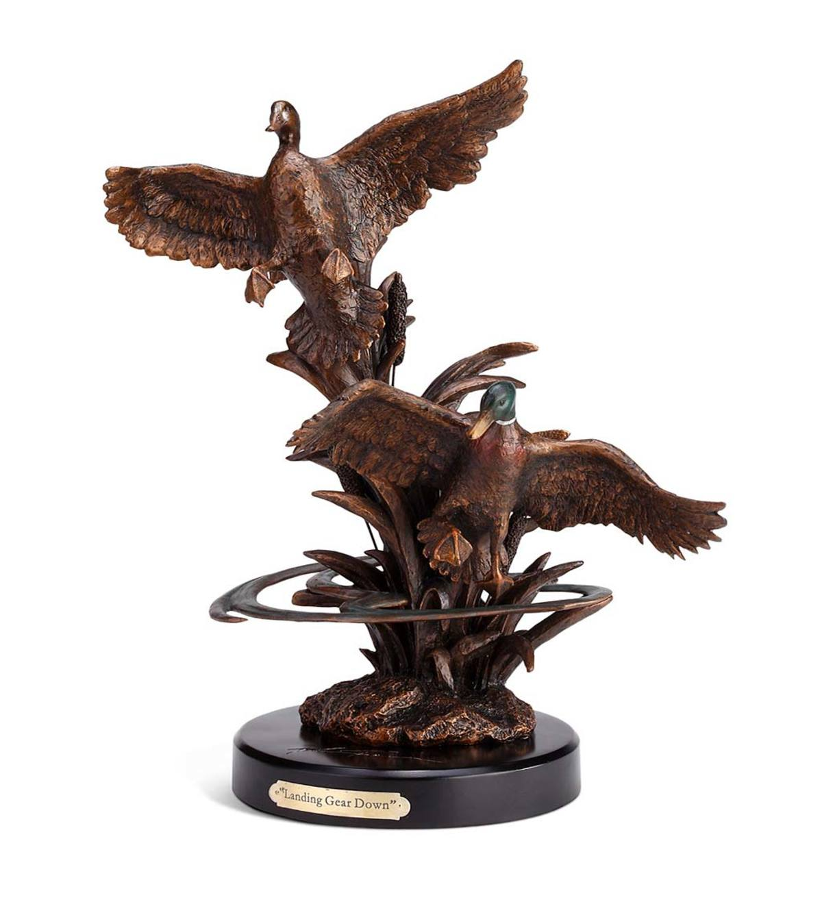 Landing Ducks Bronze-Finish Sculpture
