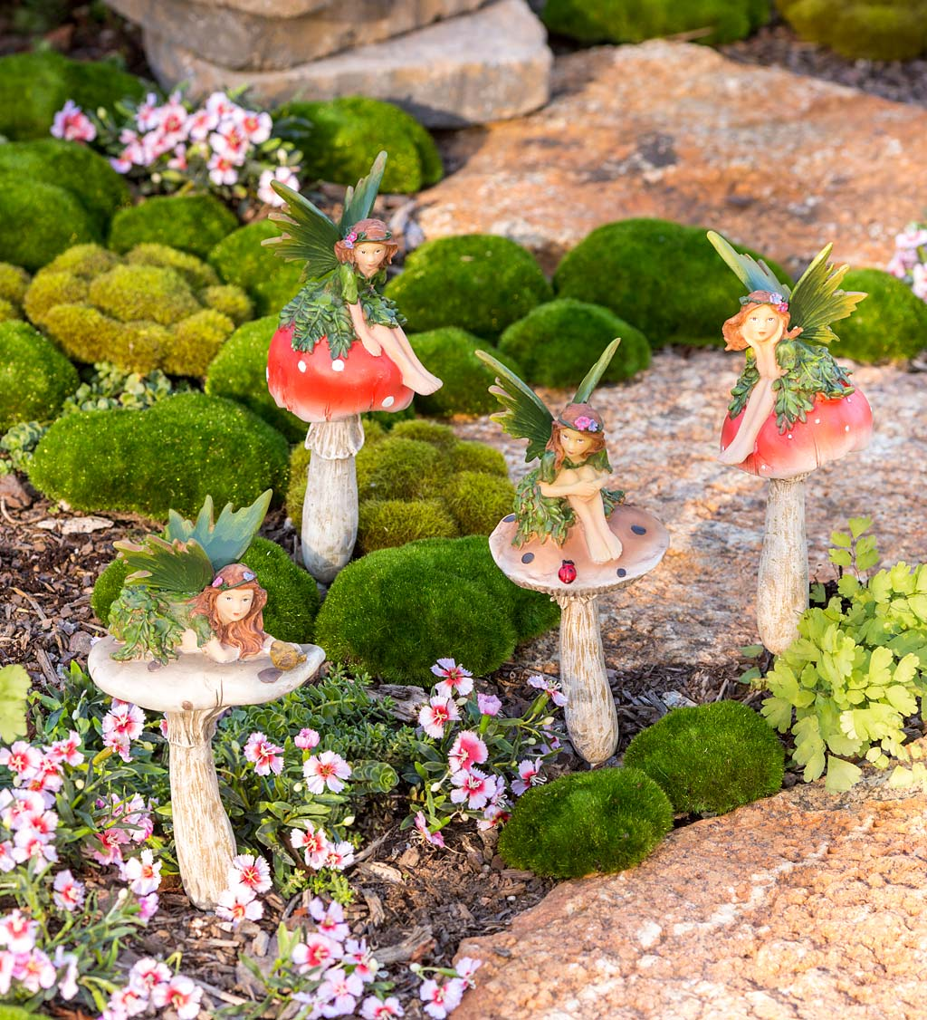Fairies On Mushrooms Garden Stakes, Set of 4