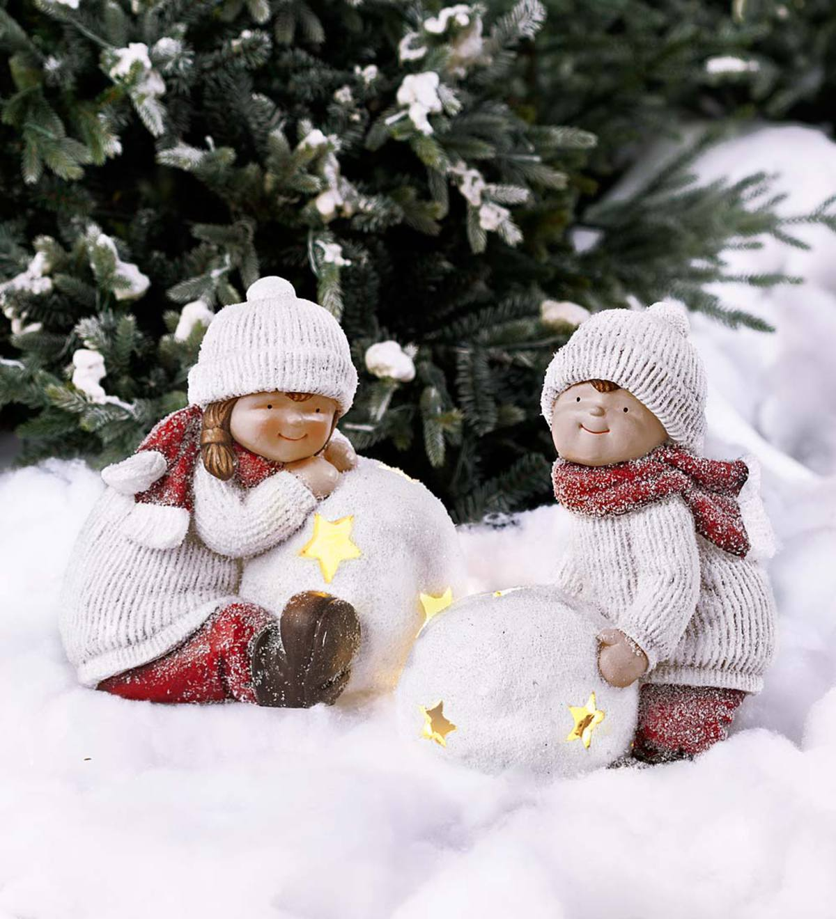 Children with Lighted Snowballs Figurines, Set of 2