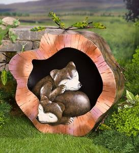 Sleeping Bears in a Log Metal Sculpture